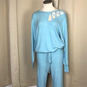 LNA blue Chris cross shoulder sweater small